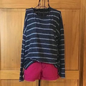 Black Long Sleeve Sweater with Horizontal Stripes